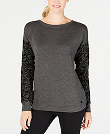 Ideology Flocked-Sleeve Top, Created for Macy's