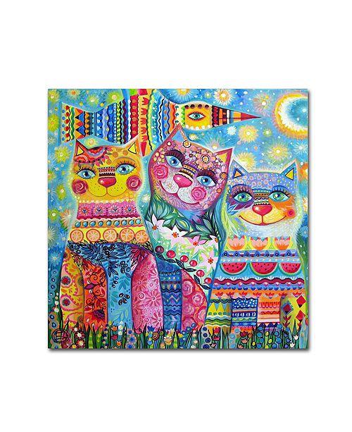 "Trademark Global Oxana Ziaka 'Deco Cats' Canvas Art - 14"" x 14"" x 2"""