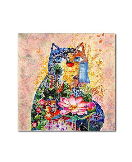"""Trademark Global Oxana Ziaka 'Lotus Cat' Canvas Art - 14"""" x 14"""" x 2"""""""