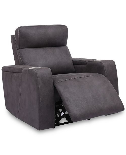 Furniture Oaklyn Fabric Power Recliner With Power Headrest And USB Power Outlet