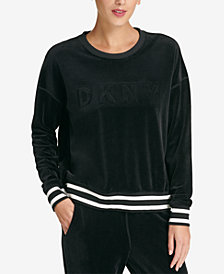 DKNY Sport Velour Embossed-Logo Top