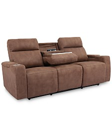 """Oaklyn 84"""" Fabric Sofa with 2 Power Recliners, Power Headrests, USB Power Outlet And Drop Down Table"""