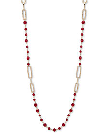 "Lauren Ralph Lauren Gold-Tone Pavé Link & Bead 42"" Strand Necklace"