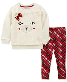 Kids Headquarters Baby Girls 2-Pc. Faux-Fur Bear Top & Plaid Leggings Set