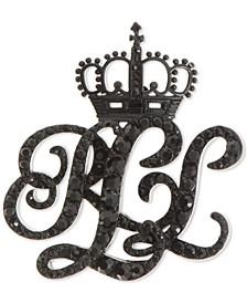 Black-Tone Micro-Pavé Crown Logo Pin