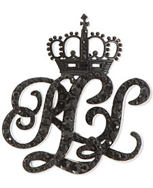 Lauren Ralph Lauren Black-Tone Micro-Pavé Crown Logo Pin