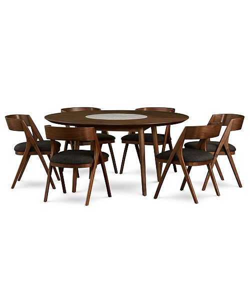 Oslo Dining Furniture, 7-Pc. Set (Lazy Susan Table & 6 Side Chairs),  Created for Macy\'s