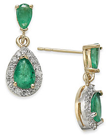 Emerald (1-1/4 ct. t.w.) & Diamond (1/4 ct. t.w.) Drop Earrings in 14k Gold