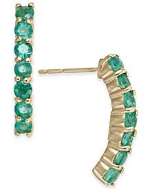 Emerald Curved Drop Earrings (1-1/8 ct. t.w.) in 14k Gold
