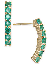 Emerald Curved Drop Earrings (1-1/8 ct. t.w.) in 14k Gold