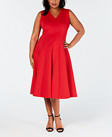 Calvin Klein Plus Size V-Neck Midi Fit & Flare Dress