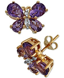 Multi-Gemstone Butterfly Stud Earrings (3-3/4 ct. t.w.) in 14k Gold-Plated Sterling Silver