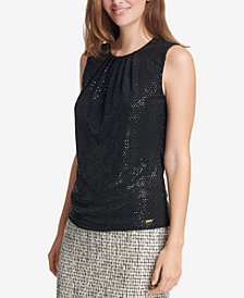 Calvin Klein Sleeveless Metallic-Print Sleeveless Top