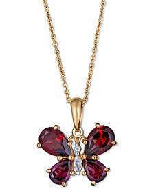 "Multi-Gemstone Butterfly 18"" Pendant Necklace (4-1/5 ct. t.w.) in 14k Gold-Plated Sterling Silver"