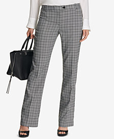 Calvin Klein Petite Straight-Leg Plaid Pants