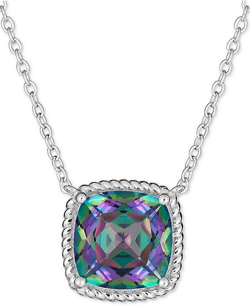 """Macy's Mystic Topaz Rope-Frame 16"""" Pendant Necklace (4 ct. t.w.) in Sterling Silver"""