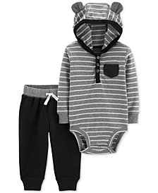 Carter's Baby Boys 2-Pc. Cotton Striped Hooded Bodysuit & Pants Set
