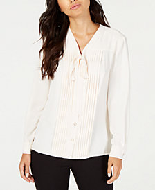 Anne Klein Bow-Neck Button-Front Blouse, Created for Macy's