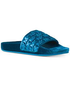 MICHAEL Michael Kors Camden Embossed Velvet Slide Sandals