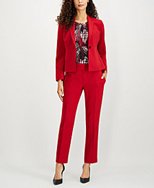 Kasper One-Button Blazer, Printed Shell & Slim-Leg Pants