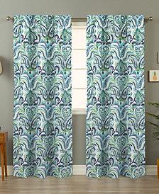 Painterly Paisley Blue Curtain Panel Pair