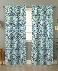 Painterly Paisley Blue Curtain Panel Pair