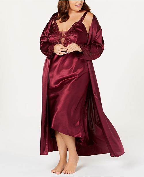 56a149770510 Flora by Flora Nikrooz Plus Size Stella Satin Nightgown   Robe Collection  ...