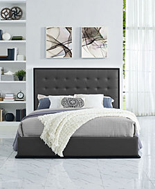 Madeline Queen Vinyl Bed Frame in Cappuccino White