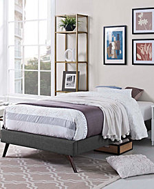 Loryn Twin Fabric Bed Frame with Round Splayed Legs in Gray