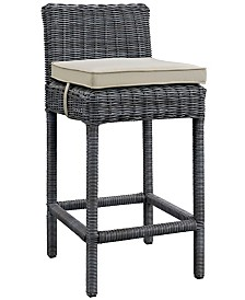 Modway Summon Outdoor Patio Sunbrella® Bar Stool in Canvas Tuscan