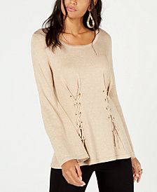 Thalia Sodi Metallic Lace-Up Sweater, Created for Macy's