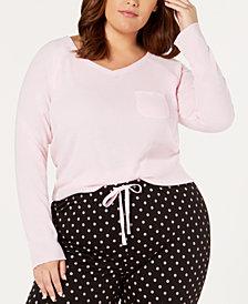 Jenni Plus Size Ribbed Hacci Sleep Top, Created for Macy's