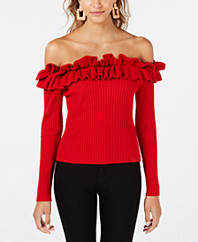 XOXO Juniors' Ruffled Off-The-Shoulder Sweater
