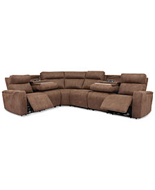 Oaklyn 6-Pc. Fabric Sectional with 2 Power Recliners, Power Headrests, USB Power Outlet & 2 Drop Down Tables
