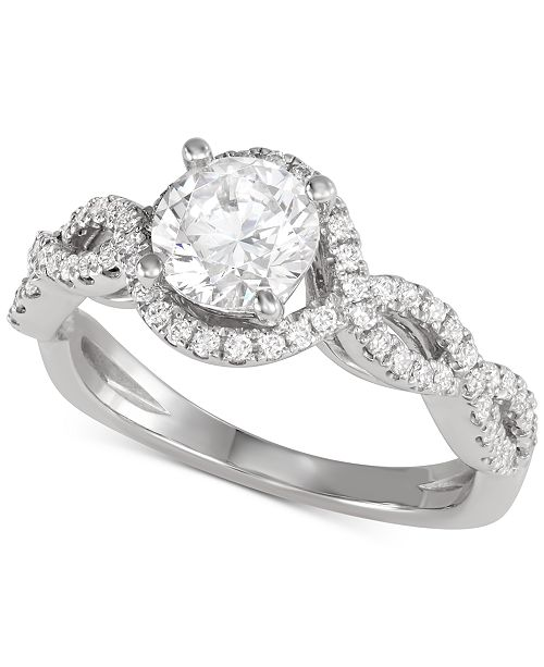 Macy's Star Signature Diamond Engagement Ring (1-1/8 ct. t.w.) in 14k White Gold