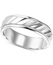 Satin & Polished Milgrain Wedding Band in 14k White Gold