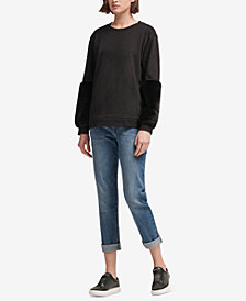 DKNY Faux-Fur Accent Sweatshirt, Created for Macy's
