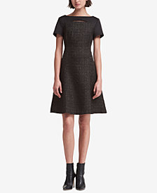 DKNY Mixed-Media Fit & Flare Dress, Created for Macy's