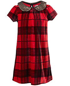 Epic Threads Little Girls Sequin-Collar Plaid Dress, Created for Macy's
