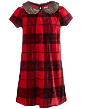 60s 70s Kids Costumes & Clothing Girls & Boys Epic Threads Toddler Girls Sequin-Collar Plaid Dress Created for Macys $21.60 AT vintagedancer.com