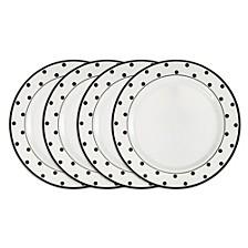Moonbeam Dots Black Melamine 4-Pc. Dinner Plate Set