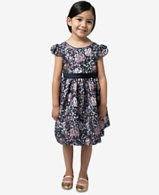 Bonnie Jean Little Girls Metallic Brocade Bow-Back Dress