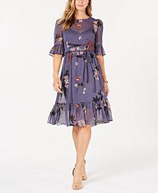 Avec Les Filles Floral Ruffled A-Line Midi Dress