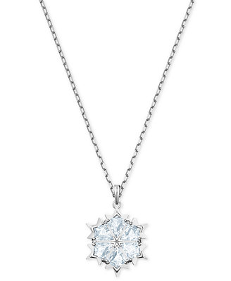 "Silver Tone Crystal Snowflake Pendant Necklace, 14 7/8"" + 2"" Extender by Swarovski"