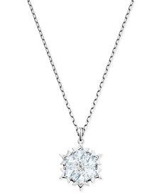 "Swarovski Silver-Tone Crystal Snowflake Pendant Necklace, 14-7/8"" + 2"" extender"