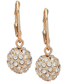 Nine West Gold-Tone Pavé Ball Drop Earrings