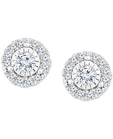 Diamond Halo Stud Earrings (1/2 to 3/4 ct. t.w.) in 14k White Gold