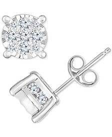 Diamond Cluster Stud Earrings (3/4 ct. t.w.) in 14k White Gold