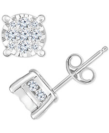 TruMiracle® Diamond Cluster Stud Earrings (3/4 ct. t.w.) in 14k White Gold
