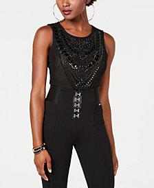 GUESS Nolah Rhinestone-Embellished Sheer Bodysuit
